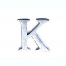 Lettera K in alluminio anodizzato