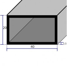 PROFILI  ALLUMINIO RETTANGOLARI 40x20x1,5
