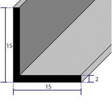 PROFILI  ALLUMINIO ANGOLARI CON LATI UGUALI 15x15x2