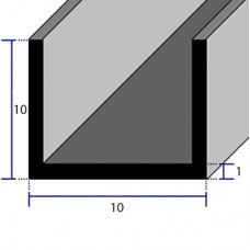 PROFILI  ALLUMINIO A U 10x10x1